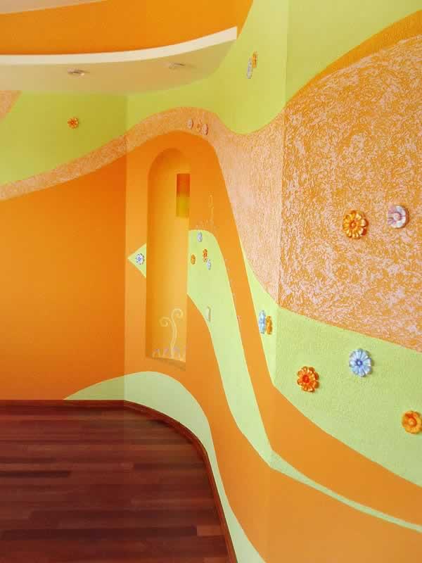 Покраска стен в детской фото